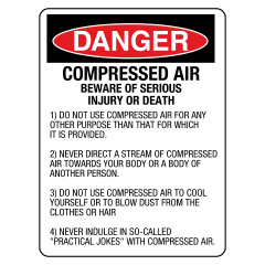 600x450mm - Metal - Danger Compressed Air Beware of Serious Injury or Death etc.