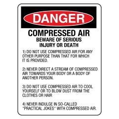 90x55mm - Self Adhesive - Danger Compressed Air Beware of Serious Injury or Death etc.