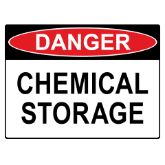 125x90mm - Self Adhesive - Danger Chemical Storage
