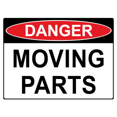 300x225mm - Self Adhesive - Danger Moving Parts