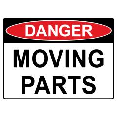 150x225mm - Self Adhesive - Danger Moving Parts