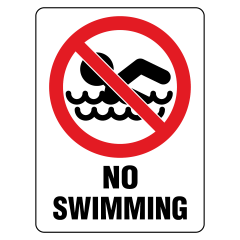 600x450mm - Metal - No Swimming
