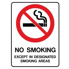 450x300mm - Poly - No Smoking Except In Designated Smoking Areas