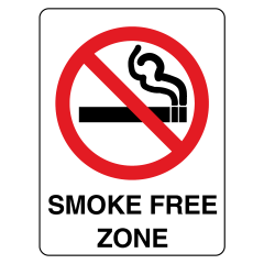 125x90mm - Self Adhesive - Smoke Free Zone