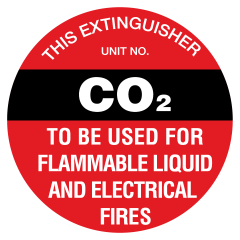 200mm Disc - Poly - Fire Extinguisher Marker - CO2 (Black)