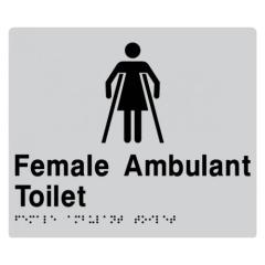 210x180mm - Braille - Silver PVC - Female Ambulant Toilet