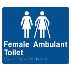 180x210mm - Braille - Blue PVC - Female Toilet & Female Disabled Toilet