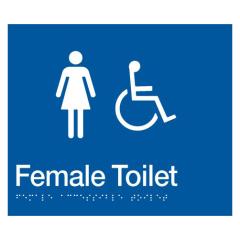 180x210mm - Braille - Blue PVC - Female Wheelchair Accessible Toilet