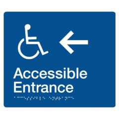 180x210mm - Braille - Blue PVC - Wheelchair Accessible Entrace Left