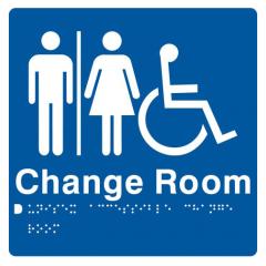 180x180mm - Braille - Blue PVC - Unisex Wheelchair Accessible Change Room