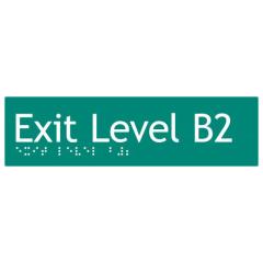 180x50mm - Braille - Green PVC - Exit Level Basement 2