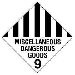 200x200mm - Self Adhesive - Miscellaneous Dangerous Goods 9