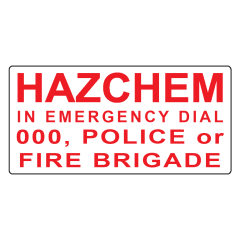 600x300mm - Metal - HAZCHEM In Emergency Dial 000, Police or Fire Brigade