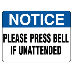 90x55mm - Self Adhesive - Notice Please Press Bell If Unattended