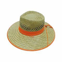 Straw Hat - HiVis Orange Trim