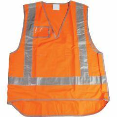 Reflective Tear-Away Rail Safety Vest with ID pocket - Orange