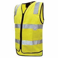 PM HiVis Reflective Cotton Zipper Closure Vest, Yellow