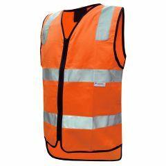 HiVis Reflective Cotton Zipper Closure Vest, Orange