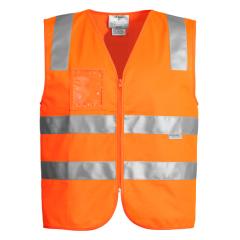 SYZMIK Unisex Hi Vis Zip Vest, Orange
