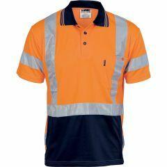 DNC Hi Vis NSW Rail Style Reflective Microfibre Polo Shirt, Orange/Navy, Short Sleeve