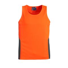 SYZMIK Unisex Hi Vis Squad Singlet, Orange/Charcoal