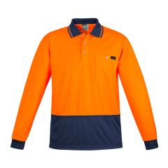 SYZMIK Mens Comfort Back L/S Polo, Orange/Navy