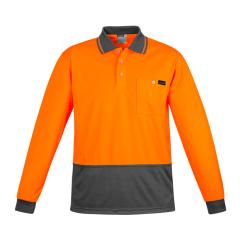 SYZMIK Mens Comfort Back L/S Polo, Orange/Charcoal