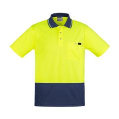 SYZMIK Mens Comfort Back S/S Polo, Yellow/Navy