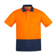 SYZMIK Mens Comfort Back S/S Polo, Orange/Navy