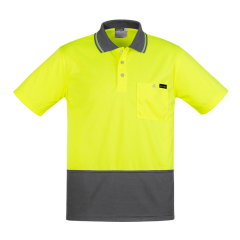 SYZMIK Mens Comfort Back S/S Polo, Yellow/Charcoal