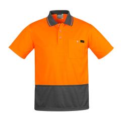 SYZMIK Mens Comfort Back S/S Polo, Orange/Charcoal