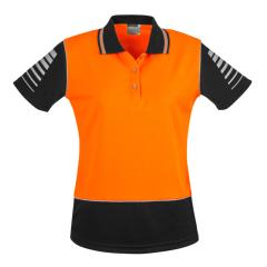 SYZMIK Womens Hi Vis Zone Polo, Orange/Black