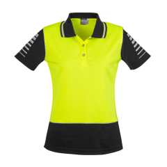 SYZMIK Womens Hi Vis Zone Polo, Yellow/Black