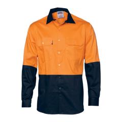 DNC HiVis Two Tone (190gsm) Cotton Drill Shirt, Orange/Navy, Long Sleeve
