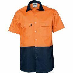 DNC HiVis Two Tone (190gsm) Cotton Drill Shirt, Orange/Navy, Short Sleeve