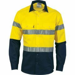 DNC HiVis Two Tone 190gsm CSR Reflective Cotton Drill Shirt, Yellow/Navy, Long Sleeve