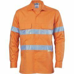 DNC Hi Vis Hoop Style Reflective 3 Way Ventilate Lightweight Cotton Drill Shirt, Orange
