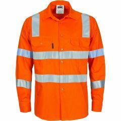 DNC Hi Vis VIC Rail Style Reflective Ventilate Lightweight Cotton Drill Shirt, Orange, Long Sleeve