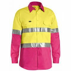 Bisley Hi Vis Hoop Style Ventilate Reflective Cotton Drill Shirt, Yellow/Pink, Long Sleeve