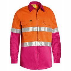 Bisley Hi Vis Hoop Style Ventilate Reflective Cotton Drill Shirt, Orange/Pink, Long Sleeve
