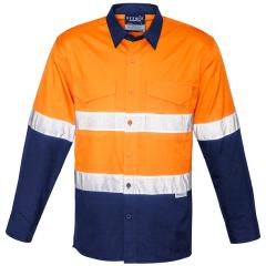 Syzmik Hi Vis Hoop Style Perf. Refl. Ventilate Ripstop Cotton Drill Shirt, Org/Navy, L/S
