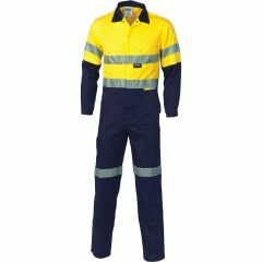 DNC 3855 311gsm Hoop Reflective Cotton Drill Coveralls, Yel/Navy