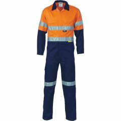 DNC 3855 311gsm Hoop Reflective Cotton Drill Coveralls, Org/Navy