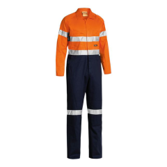 BISLEY HiVis 190GSM Lightweight Reflective Cotton Drill Coveralls, Orange/Navy