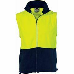 DNC HiVis Two Tone Full Zip Polar Fleece Vest, Yellow/Navy