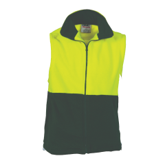 DNC HiVis Two Tone Full Zip Polar Fleece Vest, Yellow/Bottle Green