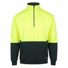 Norss HiVis Two Tone 1/2 Zip Fleecy Sweater, Yellow/Navy