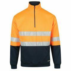 Norss HiVis Two Tone Reflective 1/2 Zip Fleecy Sweater, Orange/Navy