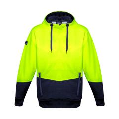 SYZMIK Unisex Hi Vis Textured Jacquard Hoodie, Yellow/Navy