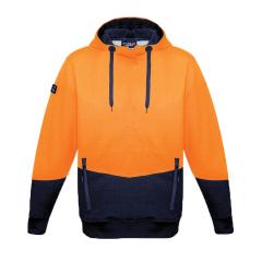 SYZMIK Unisex Hi Vis Textured Jacquard Hoodie, Orange/Navy